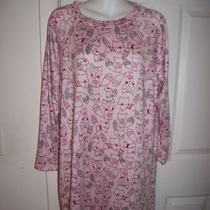 JACLYN INTIMATES Pink Fox Sleep Shirt Pajamas sz L